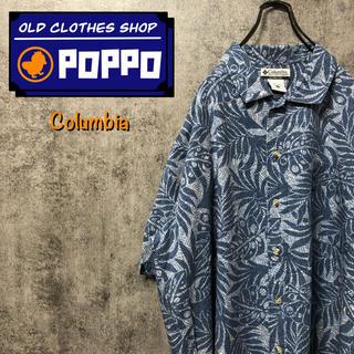 コロンビア(Columbia)のコロンビア☆ロゴタグ入りボタニカル柄半袖ビッグ総柄シャツ 90s(シャツ)