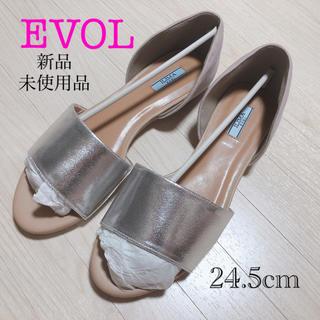イーボル(EVOL)のEVOL フラットサンダル 靴 パンプス シルバー 新品未使用品(サンダル)
