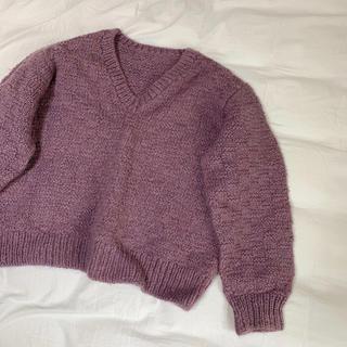 サンタモニカ(Santa Monica)の古着 毛糸ニット くすみパープル Vネック(ニット/セーター)