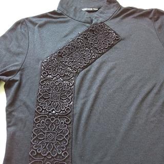 ヴィヴィアンタム(VIVIENNE TAM)のVIVIENNE TAM ヴィヴィアン タム チャイナカラーTシャツ ブラック(カットソー(長袖/七分))