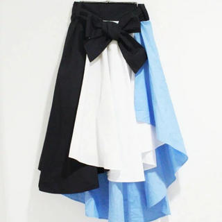 ファンキーフルーツ(FUNKY FRUIT)の【FUNKY FRUIT】りぼん付き配色フィッシュテールスカート(ロングスカート)