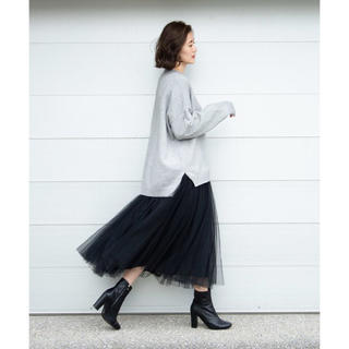 アンティローザ(Auntie Rosa)のAuntie Rosa ボリュームチュールスカート フレア ブラック(ロングスカート)