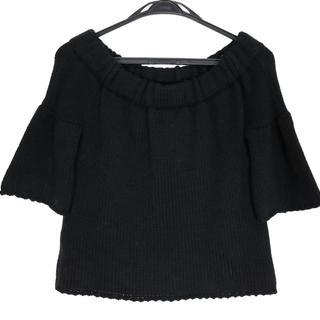 ミュウミュウ(miumiu)のミュウミュウ 半袖セーター サイズ38 S 黒(ニット/セーター)