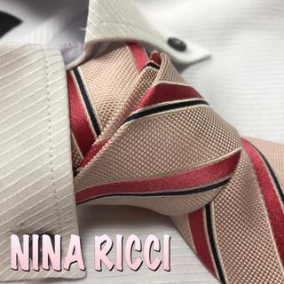 ニナ リッチ ネクタイ【美品】薄いピンク系 ストライプ柄 光沢