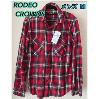 ロデオクラウンズワイドボウル(RODEO CROWNS WIDE BOWL)の新品 未使用 ロデオクラウンズ RCWB★メンズ チェックシャツ M(Tシャツ/カットソー(七分/長袖))