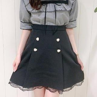 evelyn - エブリン ハートボタンレーススカート 黒/ブラック