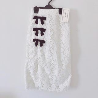 ル レーヴ ヴァニレ(le reve vaniller)の新品*ベロアリボンレースタイトスカート(ひざ丈スカート)