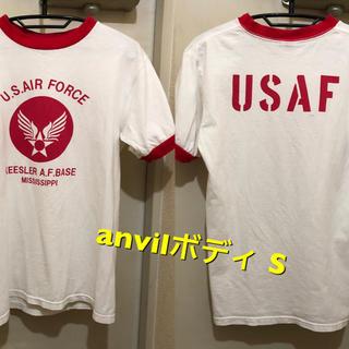 アンビル(Anvil)のSサイズ!anvilボディ 古着半袖リンガーTシャツ ミリタリー  (Tシャツ/カットソー(半袖/袖なし))