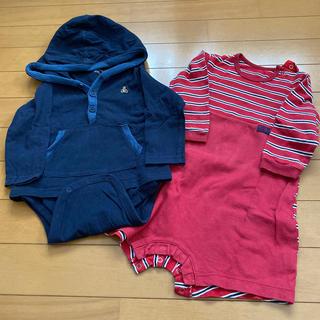 ベビーギャップ(babyGAP)の長袖ロンパース80サイズ2枚セット(ロンパース)