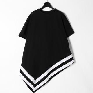 グレースコンチネンタル(GRACE CONTINENTAL)の新品✨カーディガンを羽織って秋口にも✨イレギュラーヘムライントップ ネイビー(Tシャツ(半袖/袖なし))