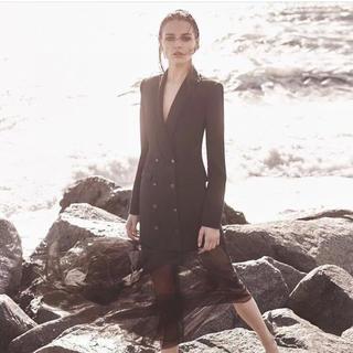 ビーシービージーマックスアズリア(BCBGMAXAZRIA)の❤️BCBG 2020新作 新品 黒ワンピース ドレス 綺麗(ロングワンピース/マキシワンピース)