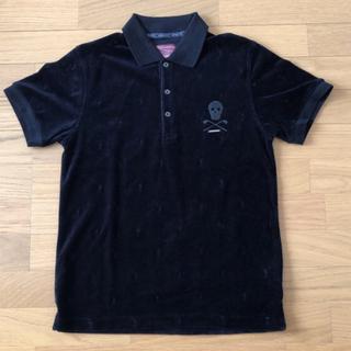 マークアンドロナ(MARK&LONA)のMARK&LONA マーク&ロナ スカル ベロア ポロシャツ M 黒(ポロシャツ)