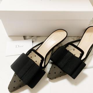 クリスチャンディオール(Christian Dior)のクリスチャンディオール プリュムティチュール リボン サンダルミュール (サンダル)