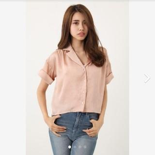 リエンダ(rienda)のrienda リエンダ バックテールオープンカラーシャツ オレンジ  (シャツ/ブラウス(半袖/袖なし))