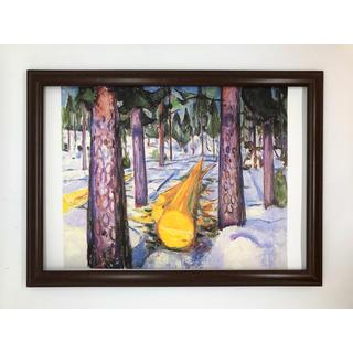 ムンク 黄色い丸太 A4 ポスター 額付き おもちゃ ホビー 名画 グッズ 風景(その他)