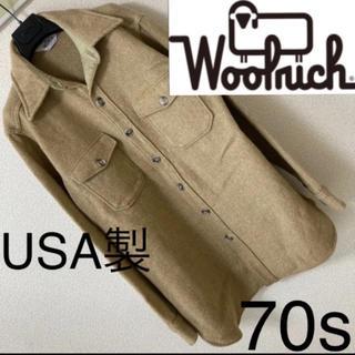 WOOLRICH - 70s◆Woolrich ウールリッチ◆ウール CPO シャツ USA製 L