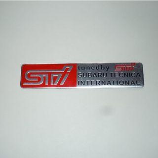 【SUBARU・STI】スバル・エンブレム・レッド◆ アルミ ステッカー◆新品