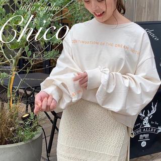 フーズフーチコ(who's who Chico)の新作🍊¥4290【Chico】ラインロゴプリントBIGロンT(Tシャツ/カットソー(七分/長袖))