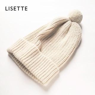 ネストローブ(nest Robe)の新品 LISETTE✨リゼッタ アルパカウール ニット帽 ビーニー ボンボン付き(ニット帽/ビーニー)