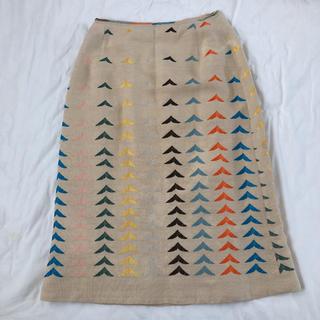 ミナペルホネン(mina perhonen)のミナペルホネン bird 麻 リネン スカート(ひざ丈スカート)