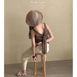 トゥデイフル(TODAYFUL)のAmiur 2way ribbon no sleeve brown(カットソー(半袖/袖なし))
