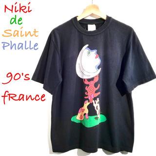 ディオール(Dior)の90's フランス製 ニキ ド サンファル アートTシャツ M 紺 Dior(Tシャツ/カットソー(半袖/袖なし))