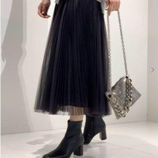 アパルトモンドゥーズィエムクラス(L'Appartement DEUXIEME CLASSE)の今季 即完売 AP STUDIO チュールスカート ブラック 新品(ロングスカート)