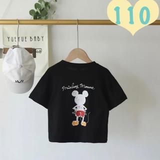 Disney - ミッキー Tシャツ 黒 110 半袖Tシャツ