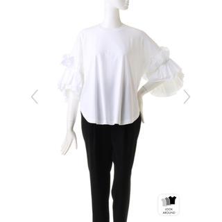 エンフォルド(ENFOLD)の今期新作♡ENFOLDフリルスリーブTシャツ ホワイト38 新品未使用タグ付き(Tシャツ(半袖/袖なし))