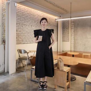 dholic - 韓国 ファッション 肩フリル オールインワン ワイドパンツ