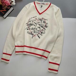 ディオール(Dior)のI LOVE YOU の ロゴレディースVネックセーター     長袖(ニット/セーター)