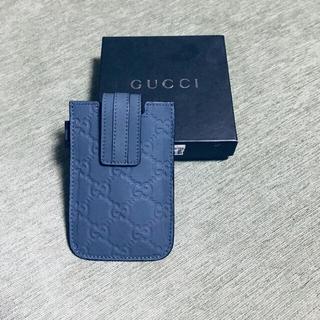 グッチ(Gucci)の新品定価27,500シマレザーケースGG柄小物入れカード名刺ケーススマホケース(名刺入れ/定期入れ)