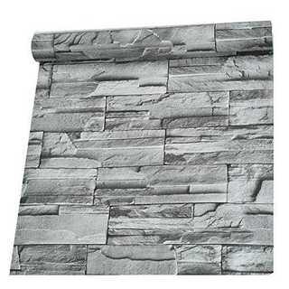 3D緑グレー45cmX10mHarmn home【DIY 壁紙シール】 レンガ (型紙/パターン)