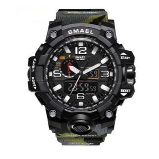 SMAEL 1545 mc スポーツウォッチ(迷彩タイプ、アーミーグリーン)(腕時計(デジタル))
