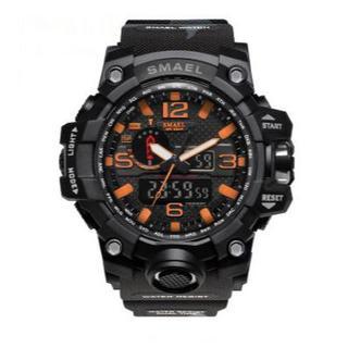 SMAEL 1545 mc スポーツウォッチ(迷彩タイプ、オレンジ)(腕時計(デジタル))