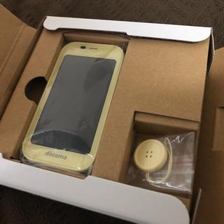 エヌティティドコモ(NTTdocomo)の【未使用】ドコモ キッズケータイ 黄色(携帯電話本体)