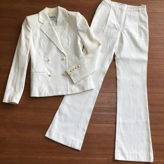 CHANEL - シャネル セットアップ ジャケット パンツ スーツ パールボタン