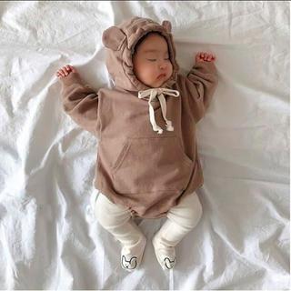 プティマイン(petit main)のくまさんタイツ ホワイト 人気 韓国子供服(靴下/タイツ)