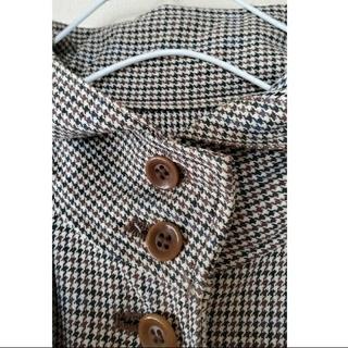 ムジルシリョウヒン(MUJI (無印良品))のフード付きグレンチェック柄コート(ロングコート)