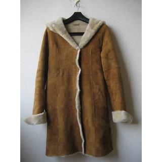 アナイ(ANAYI)のアナイ ANAYI ムートンフードコート サイズ36 キャメル 羊革(毛皮/ファーコート)