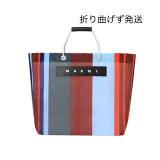 マルニ(Marni)の新品 MARNI FLOWER CAFE ストライプバッグ ラッカーレッド(かごバッグ/ストローバッグ)