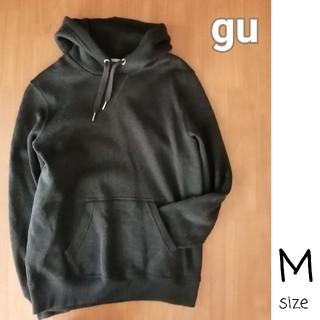 GU - GU ジーユー フードつきパーカー 深緑 メンズ M フリース素材
