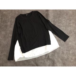 ロデオクラウンズワイドボウル(RODEO CROWNS WIDE BOWL)のRCWB*異素材ロングカットソーTシャツ*ブラック×ホワイト*M(カットソー(長袖/七分))