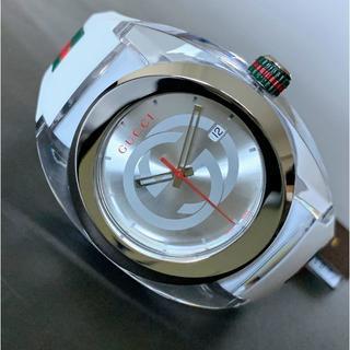 グッチ(Gucci)の【新品】高級ブランド● グッチ GUCCI Gロゴ クオーツ 白 メンズ 腕時計(ラバーベルト)