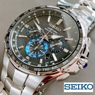 セイコー(SEIKO)の【新品】セイコー 電波ソーラー クロノグラフ SEIKO メンズ腕時計 ブルー(腕時計(デジタル))