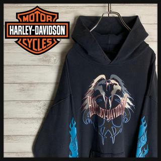 ハーレーダビッドソン(Harley Davidson)の【最高デザイン】ハーレーダビッドソン☆ビッグロゴ入りパーカー ファイヤーパターン(パーカー)