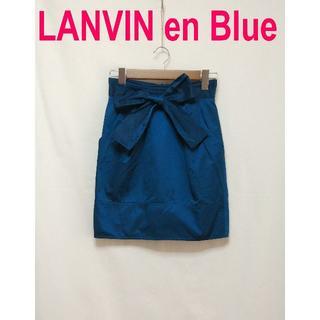 ランバンオンブルー(LANVIN en Bleu)のLANVIN ランバン ひざ丈 ひざ下 タイト リボン スカート ブルー(ひざ丈スカート)