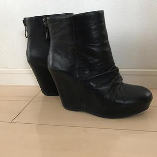 アッシュ(ASH)のASHショートウェッジソールブーツブーティー23.5-24位ブラック黒(ブーツ)