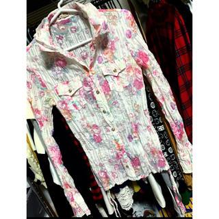 リズリサ(LIZ LISA)のシワプレス加工シャツ.涼しげでかわいい.ロールアップ袖&裾も調整可能.(シャツ/ブラウス(長袖/七分))