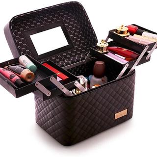 メイクボックス コスメボックス 鏡付き 大容量 化粧品 収納 プロ仕様 黒(メイクボックス)